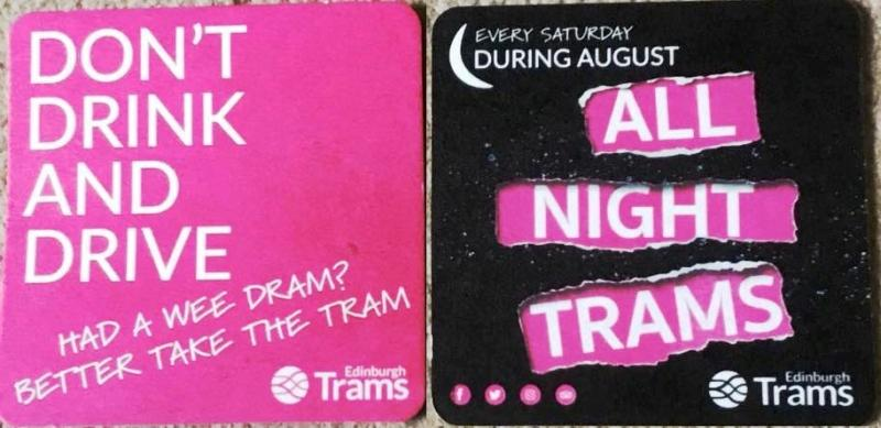 Edinburgh Trams beer mats